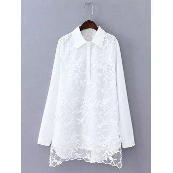 Plus Size Sweet Flower Embroidered Long Shirt
