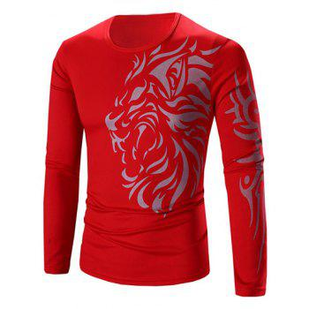 Round Neck Tattoo Style Tiger Print Long Sleeve Men's T-Shirt - RED RED