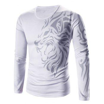 Round Neck Tattoo Style Tiger Print Long Sleeve Men's T-Shirt - WHITE M