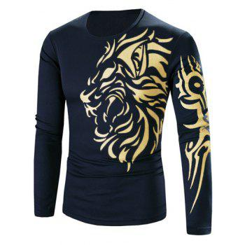 Round Neck Tattoo Style Golden Tiger Print Long Sleeve Men's T-Shirt
