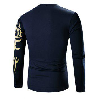 Round Neck Tattoo Style Golden Tiger Print Long Sleeve Men's T-Shirt - CADETBLUE XL