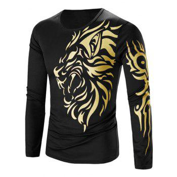 Round Neck Tattoo Style Golden Tiger Print Long Sleeve Men's T-Shirt - BLACK L