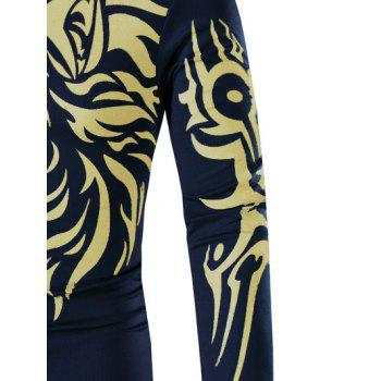 Round Neck Tattoo Style Golden Tiger Print Long Sleeve Men's T-Shirt - L L