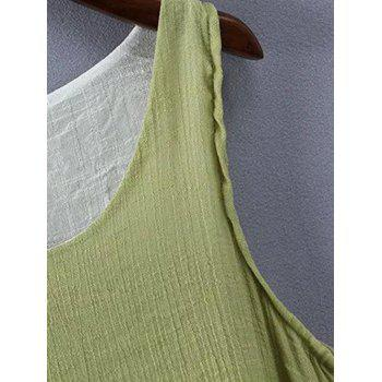 Plus Size Overlay Two Tone Dress - PEA GREEN XL
