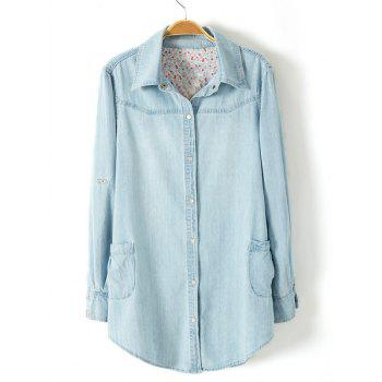 Plus Size Trendy Adjustable Sleeve Longline Chambray Shirt