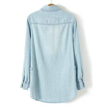 Plus Size Trendy Adjustable Sleeve Longline Chambray Shirt - LIGHT BLUE LIGHT BLUE