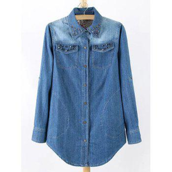 Plus Size Chic Stud Embellished Denim Tunic Shirt