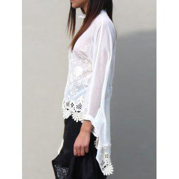 Asymmetric Embroidered Blouse - WHITE S