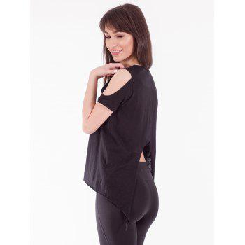 Chic Cold Shoulder Asymmetric T-Shirt - BLACK S