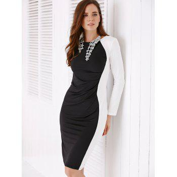 Chic White and Black Long Sleeve Women's Bodycon Dress