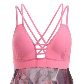 Alluring Criss-Cross Beauty Print High Low One-Piece Swimsuit - PINK PINK