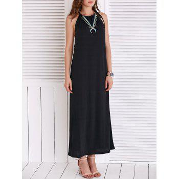 Chic Women's Strappy Loose-Fitting Black Maxi Dress