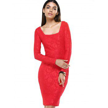 Ladylike Long Sleeve Jacquard Bodycon Dress For Women - RED RED