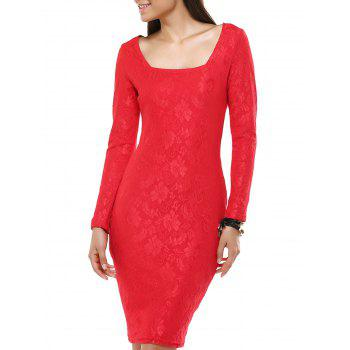Ladylike Long Sleeve Jacquard Bodycon Dress For Women