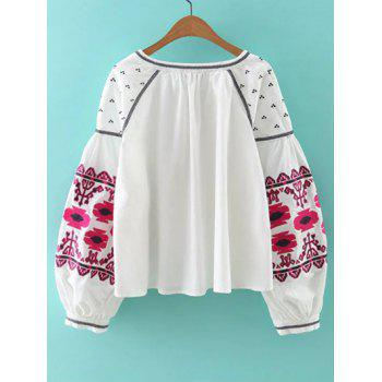 Bohemian Style Embroidery Lace Up Jacket - S S