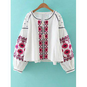 Bohemian Style Embroidery Lace Up Jacket - WHITE S