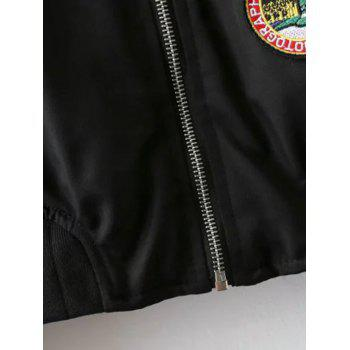 Fruits Badge Embellished Bomber Jacket - BLACK BLACK