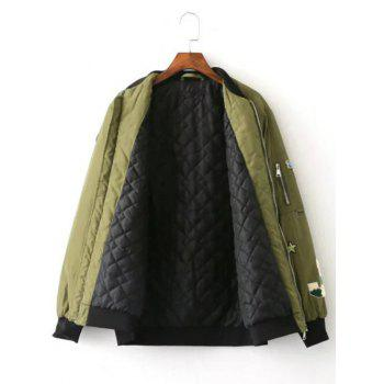 Patch Embellished Bomber Jacket - ARMY GREEN ARMY GREEN
