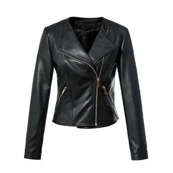 Cool Zipper Design All Black Jacket