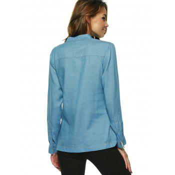 Alluring Pure Color Lace Up Blouse For Women - LIGHT BLUE XL