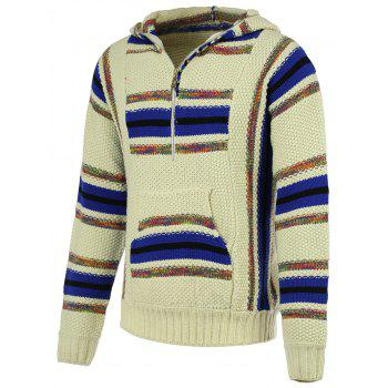Buy Striped Pattern Half Zip Long Sleeve Men's Hooded Sweater COLORMIX