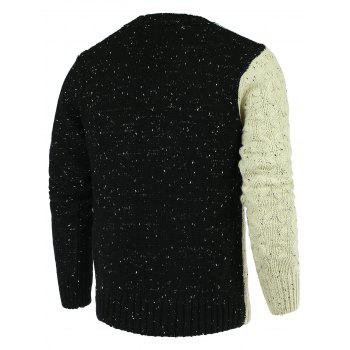 Color Spliced Braid Asymmetrical Long Sleeve Men's Sweater - BLACK L