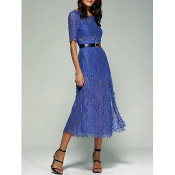 Buy Open Back Furcal 1/2 Sleeve Lace Dress BLUE