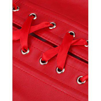 Trendy Faux Leather Metal Embellished Women's Corset - RED L