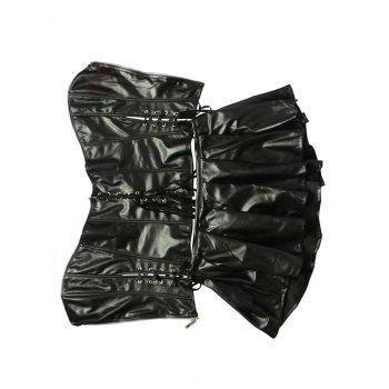 Chic Faux Leather Zippered Three-Piece Women's Corset Suit - BLACK 5XL