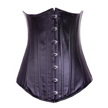 Chic Lace-Up Solid Color Women's Corset - BLACK S