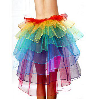Alluring Tie-Waist Multicolor Layered Women's Skirt - ONE SIZE ONE SIZE