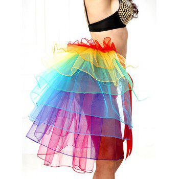 Alluring Tie-Waist Multicolor Layered Women's Skirt - COLORFUL COLORFUL