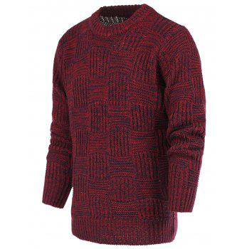 Ribbed Plaid Pattern Crew Neck Long Sleeve Sweater