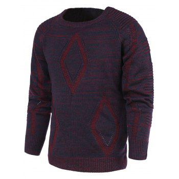 Rhombus Pattern Ribbed Crew Neck Raglan Sleeve Sweater