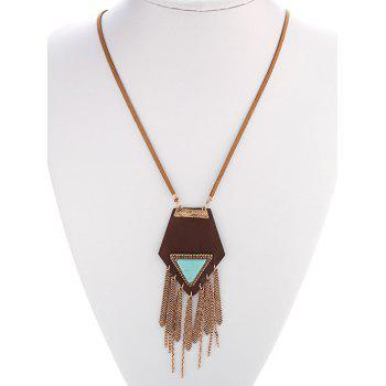 Ethnic Faux Turquoise Geometric Fringed Necklace