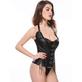 Stunning Gothic Lace Up Halter Latex Corset - BLACK 2XL