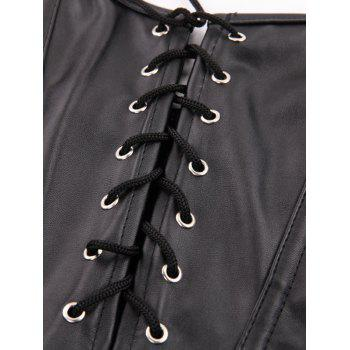 Stunning Lace Up Faux Leather Lacework Corset With G-String - BLACK M