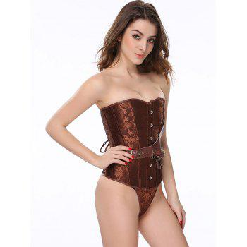 Vintage Paisley Belt Lace Up Steel Boned Corset With G-String - COFFEE S
