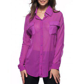 Stylish Semi Sheer Slit Pure Color Pocket Loose Shirt