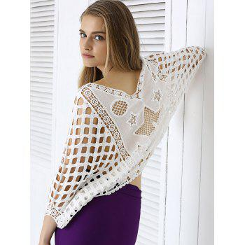 Sweet Star Lace Crochet See-Through Dolman Sleeve Blouse - WHITE ONE SIZE