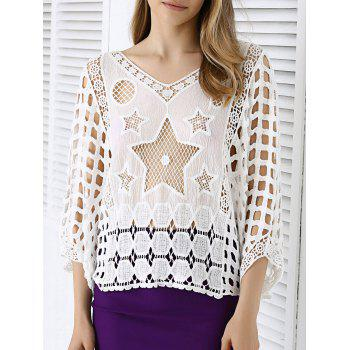 Sweet Star Lace Crochet See-Through Dolman Sleeve Blouse