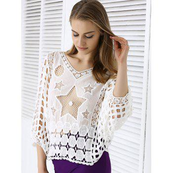 Sweet Star Lace Crochet See-Through Dolman Sleeve Blouse - Blanc ONE SIZE