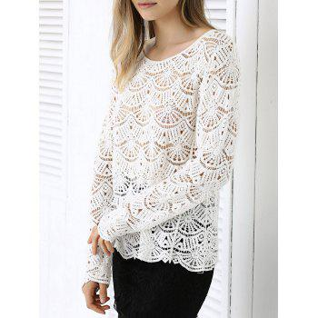 Buy Chic Fanshaped Lace Crochet Trim See-Through Spliced Blouse WHITE