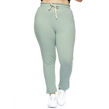 Oversized Simple Drawstring Waist Pure Color Stretchy Slimming Pants