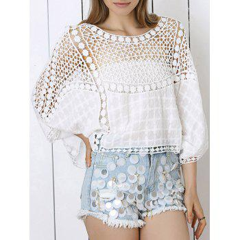 Buy Sweet Lace Crochet See-Through Dolman Sleeve Blouse WHITE