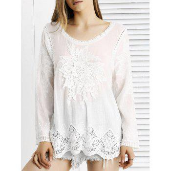 Buy Chic Lace Crochet Trim See-Through Floral Spliced Blouse WHITE