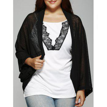 Plus Size Dolman Sleeve Loose Cardigan - BLACK 3XL