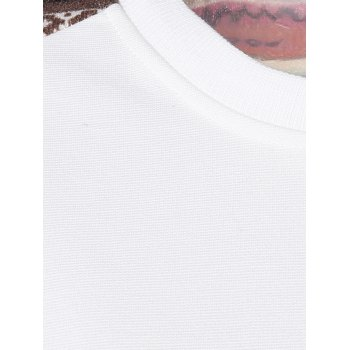 Surdimensionné Fawn Tribal T-shirt imprimé Spliced - Blanc M