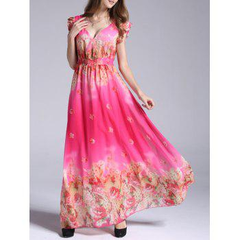 Sweet Women's Floral Print Ruffled Bohemian Dress