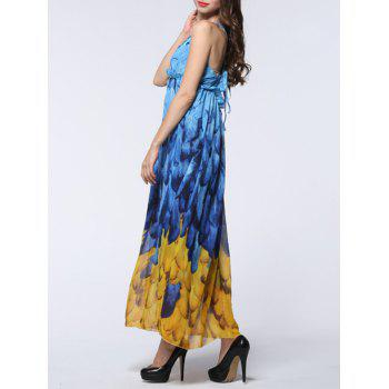 Feather Print Backless Chiffon Maxi Beachwear Dress - BLUE/YELLOW 7XL